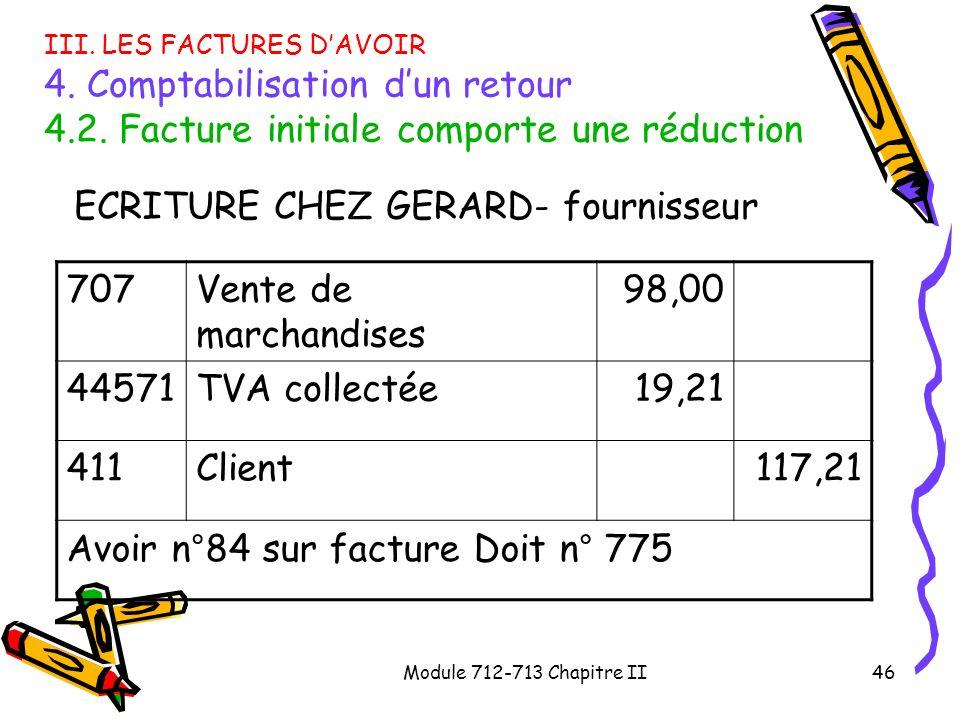 Module 712-713 Chapitre II46 III. LES FACTURES DAVOIR 4. Comptabilisation dun retour 4.2. Facture initiale comporte une réduction ECRITURE CHEZ GERARD