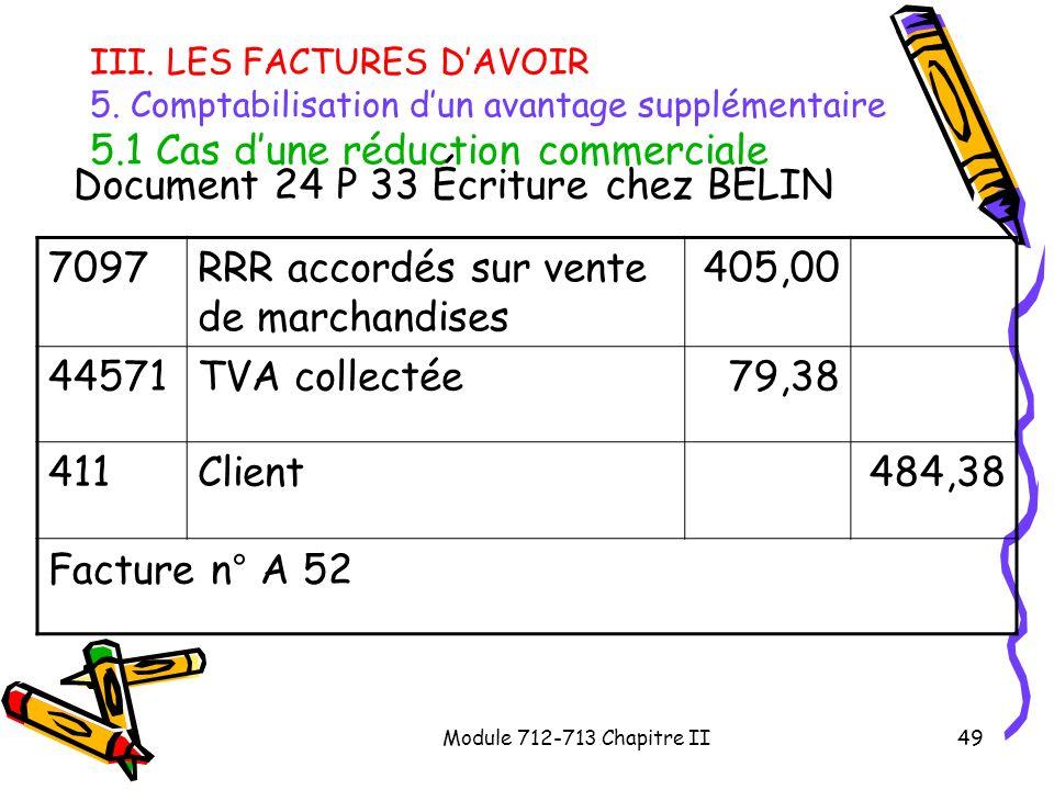 Module 712-713 Chapitre II49 III. LES FACTURES DAVOIR 5. Comptabilisation dun avantage supplémentaire 5.1 Cas dune réduction commerciale Document 24 P