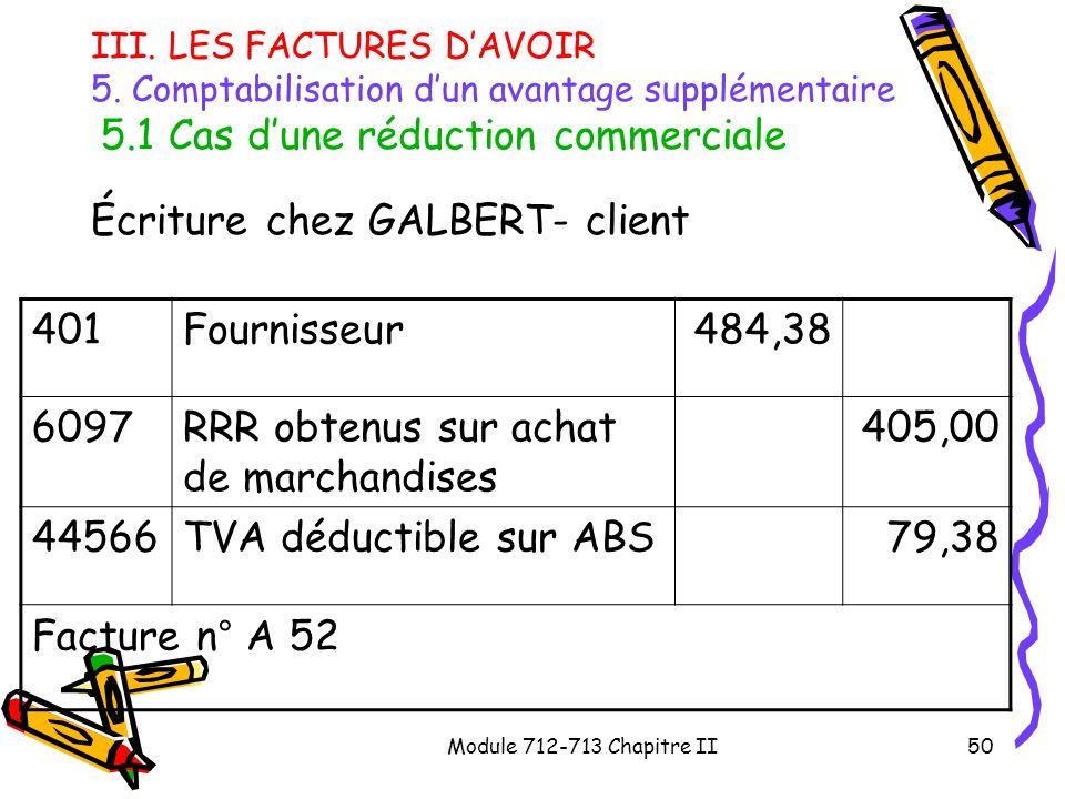 Module 712-713 Chapitre II50 III. LES FACTURES DAVOIR 5. Comptabilisation dun avantage supplémentaire 5.1 Cas dune réduction commerciale Écriture chez