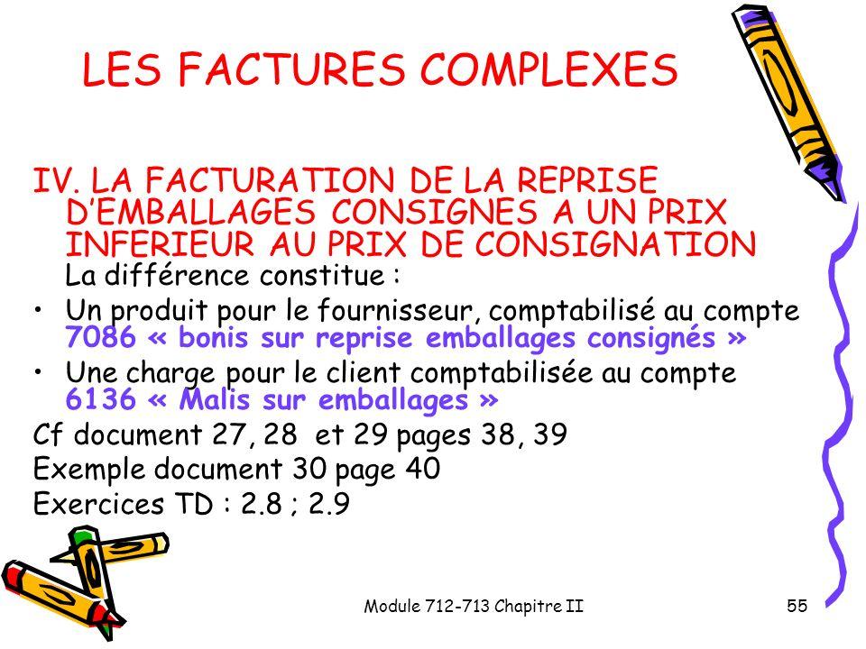 Module 712-713 Chapitre II55 LES FACTURES COMPLEXES IV. LA FACTURATION DE LA REPRISE DEMBALLAGES CONSIGNES A UN PRIX INFERIEUR AU PRIX DE CONSIGNATION