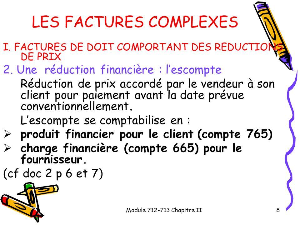 Module 712-713 Chapitre II8 LES FACTURES COMPLEXES I. FACTURES DE DOIT COMPORTANT DES REDUCTIONS DE PRIX 2. Une réduction financière : lescompte Réduc