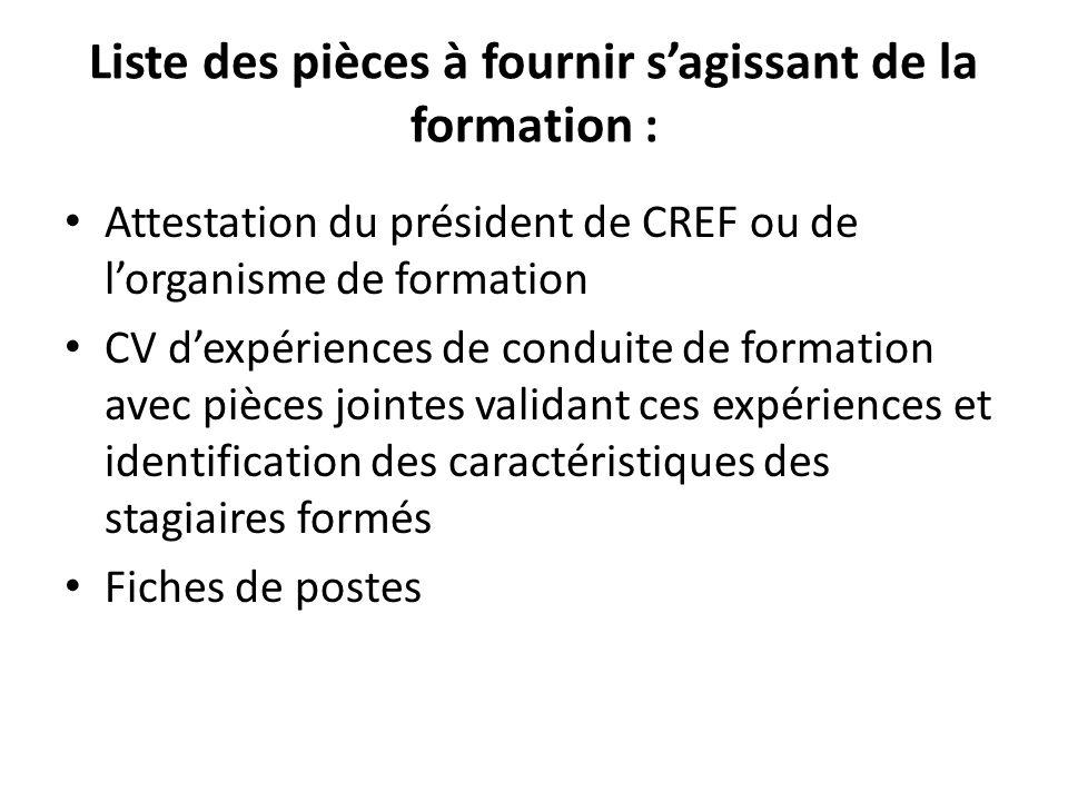 Liste des pièces à fournir sagissant de la formation : Attestation du président de CREF ou de lorganisme de formation CV dexpériences de conduite de f