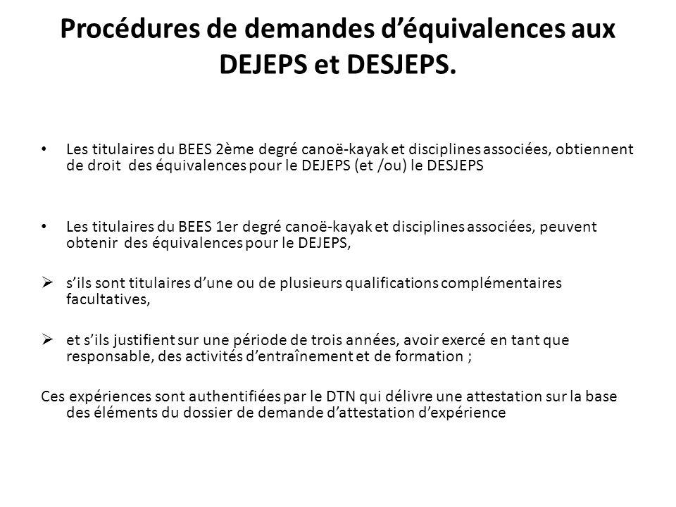 Procédures de demandes déquivalences aux DEJEPS et DESJEPS. Les titulaires du BEES 2ème degré canoë-kayak et disciplines associées, obtiennent de droi