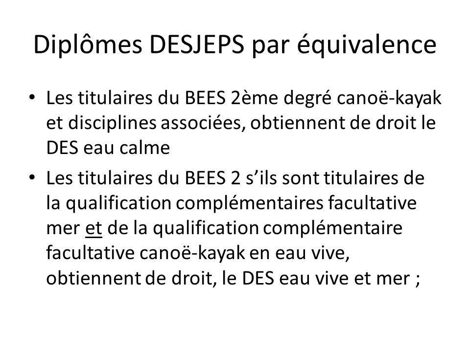 Diplômes DESJEPS par équivalence Les titulaires du BEES 2ème degré canoë-kayak et disciplines associées, obtiennent de droit le DES eau calme Les titu