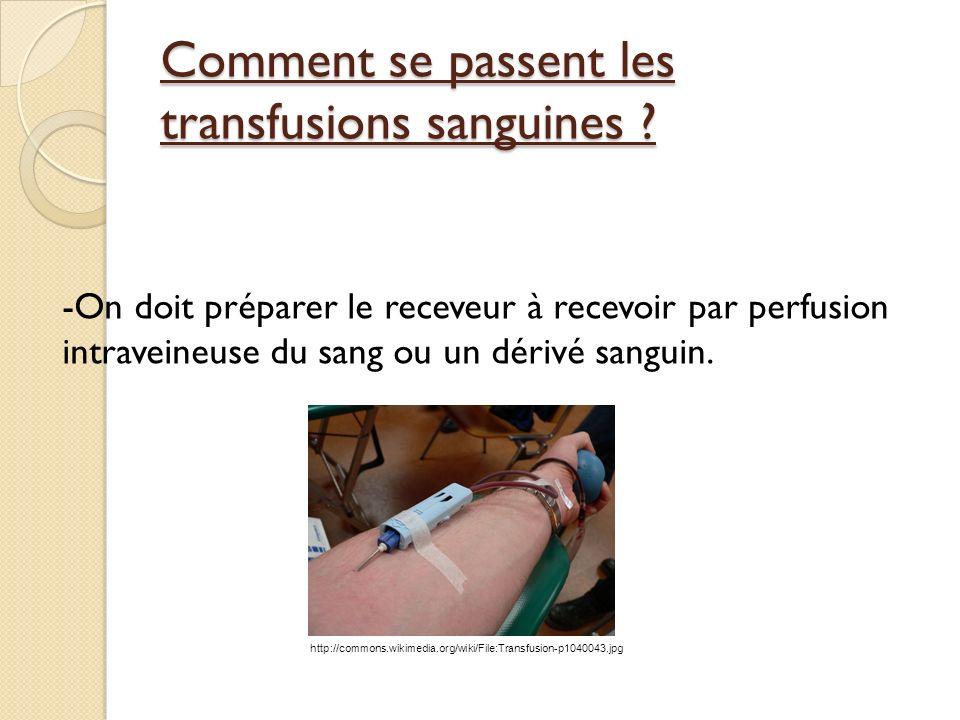 Comment se passent les transfusions sanguines .