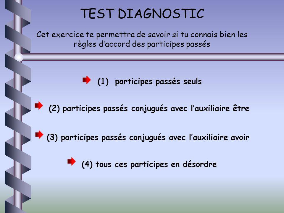 TEST DIAGNOSTIC Cet exercice te permettra de savoir si tu connais bien les règles daccord des participes passés (1) participes passés seuls (2) partic