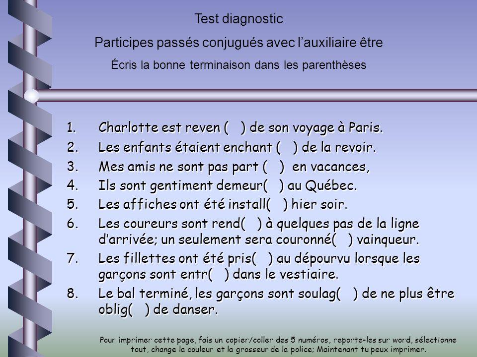 Test diagnostic Participes passés conjugués avec lauxiliaire être Écris la bonne terminaison dans les parenthèses 1.Charlotte est reven ( ) de son voy