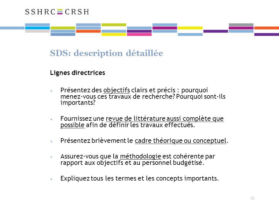 SDS: description détaillée Lignes directrices Présentez des objectifs clairs et précis : pourquoi menez-vous ces travaux de recherche.