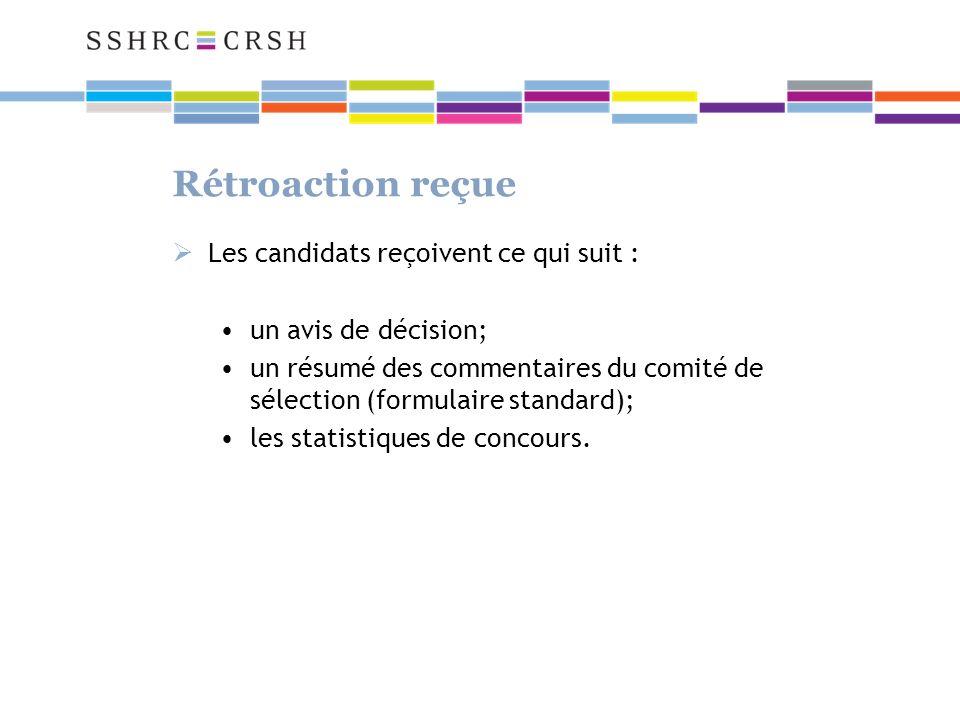 Rétroaction reçue Les candidats reçoivent ce qui suit : un avis de décision; un résumé des commentaires du comité de sélection (formulaire standard); les statistiques de concours.