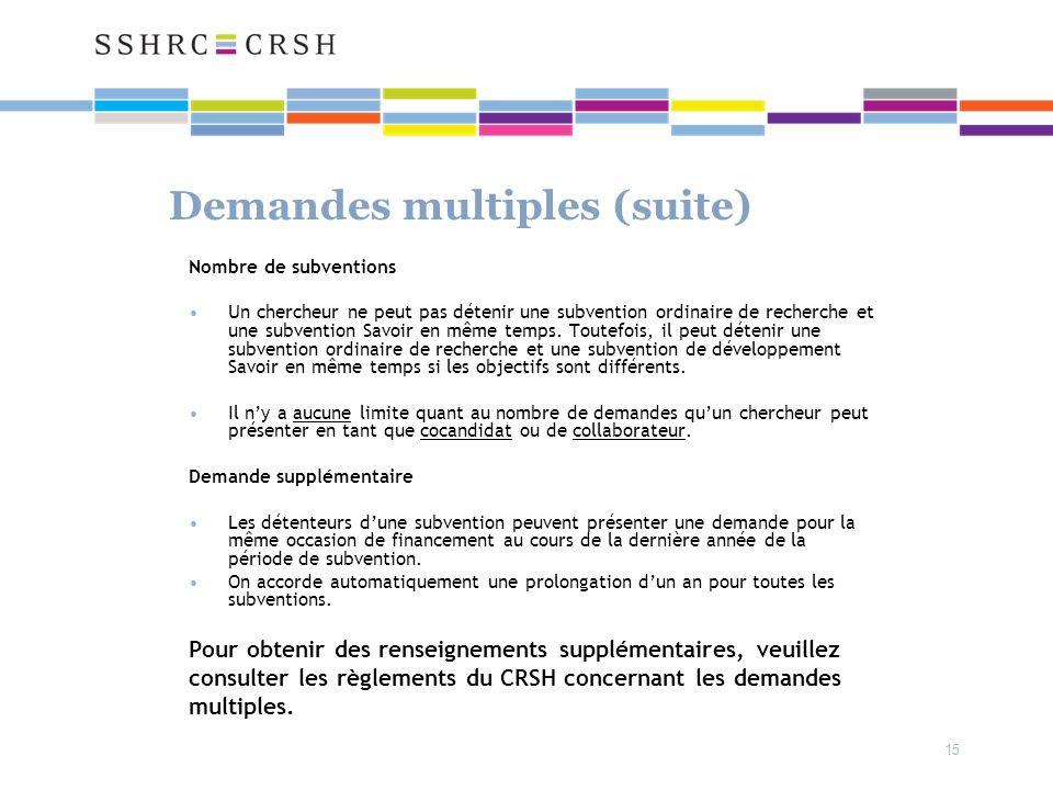 15 Demandes multiples (suite) Nombre de subventions Un chercheur ne peut pas détenir une subvention ordinaire de recherche et une subvention Savoir en même temps.
