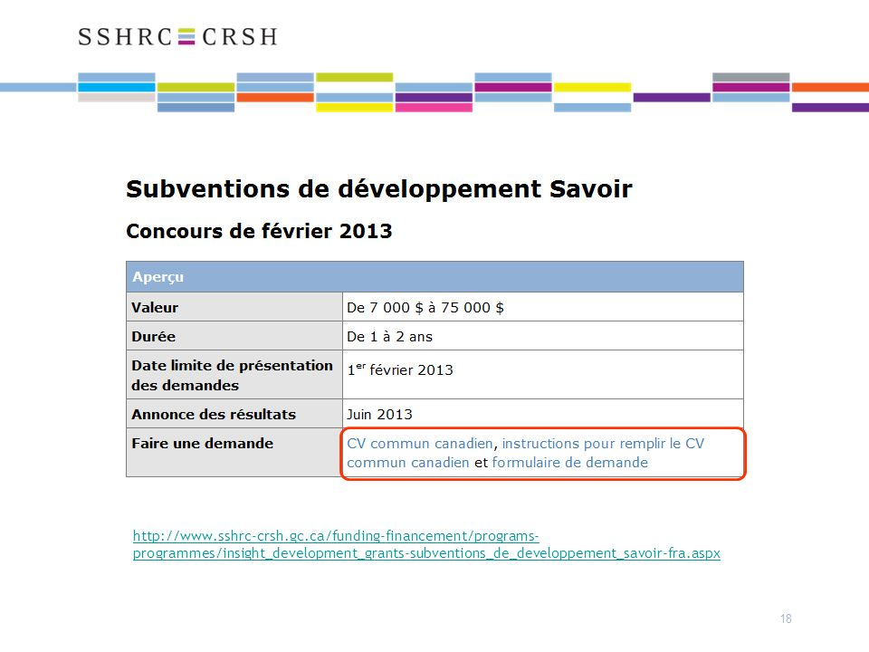 http://www.sshrc-crsh.gc.ca/funding-financement/programs- programmes/insight_development_grants-subventions_de_developpement_savoir-fra.aspx 18
