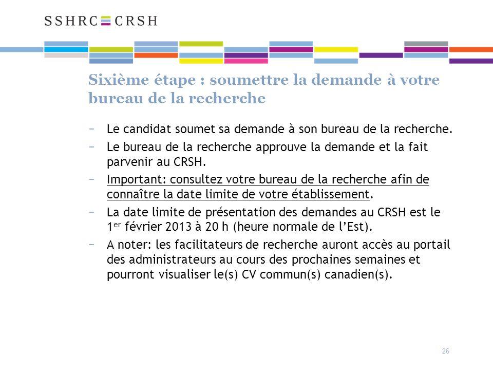 Sixième étape : soumettre la demande à votre bureau de la recherche Le candidat soumet sa demande à son bureau de la recherche.