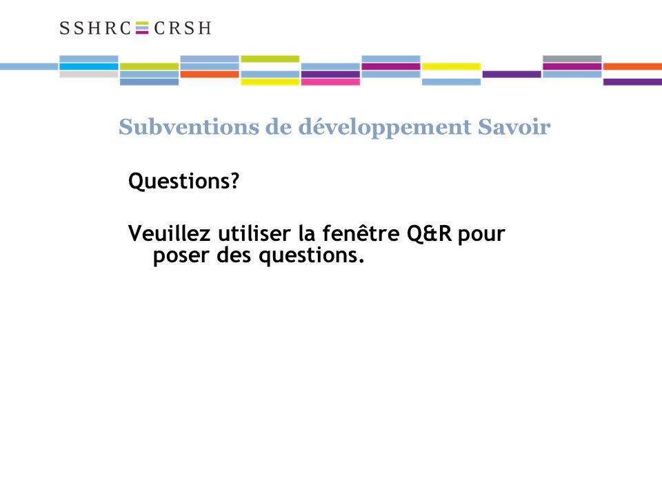 Subventions de développement Savoir Questions.