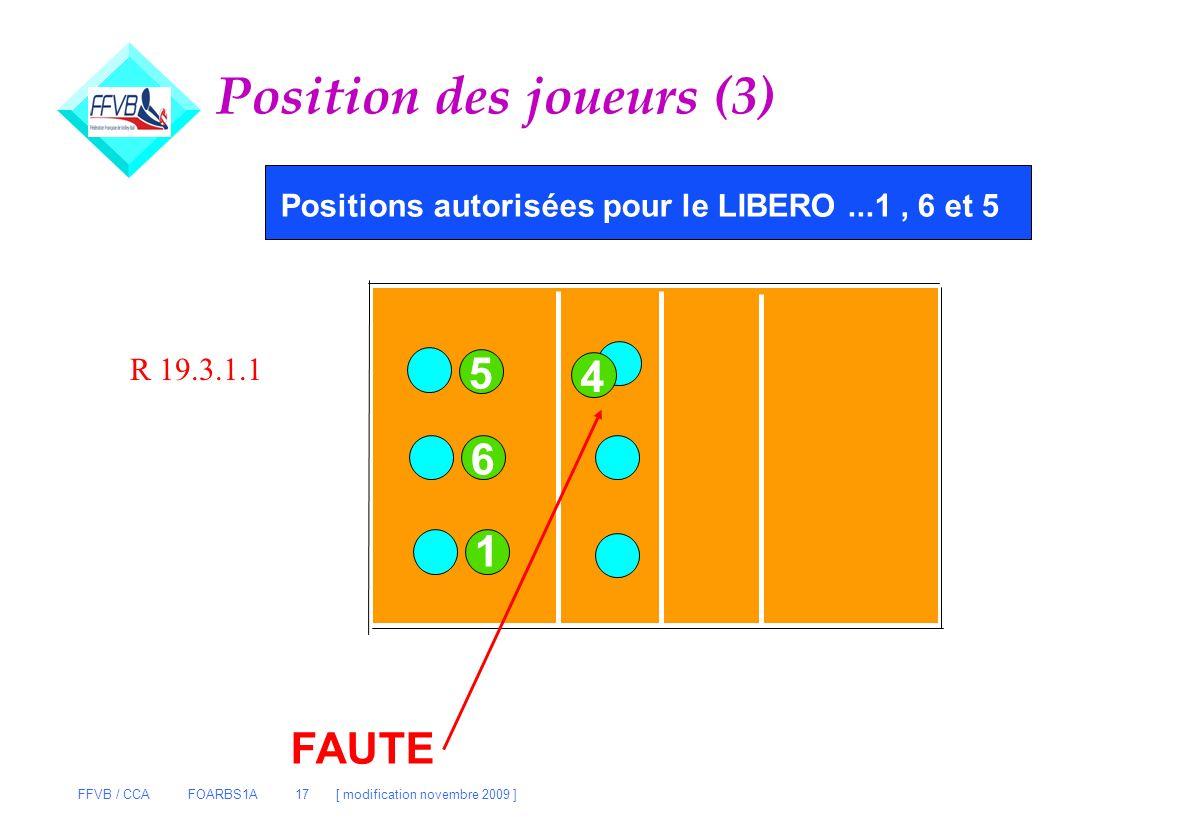 FFVB / CCA FOARBS1A 17 [ modification novembre 2009 ] Position des joueurs (3) Positions autorisées pour le LIBERO...1, 6 et 5 1 6 5 4 FAUTE R 19.3.1.