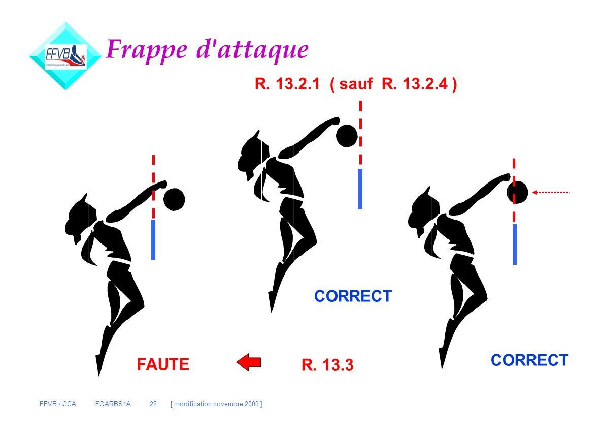 FFVB / CCA FOARBS1A 22 [ modification novembre 2009 ] Frappe d'attaque FAUTE CORRECT R. 13.2.1 ( sauf R. 13.2.4 ) R. 13.3