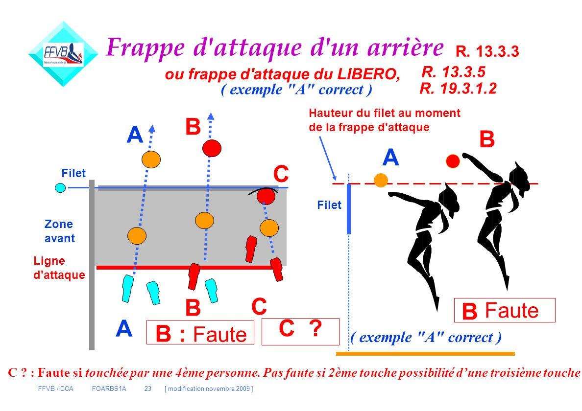 FFVB / CCA FOARBS1A 23 [ modification novembre 2009 ] Frappe d'attaque d'un arrière C B A A B C Filet Zone avant Ligne d'attaque B : Faute A B Faute B