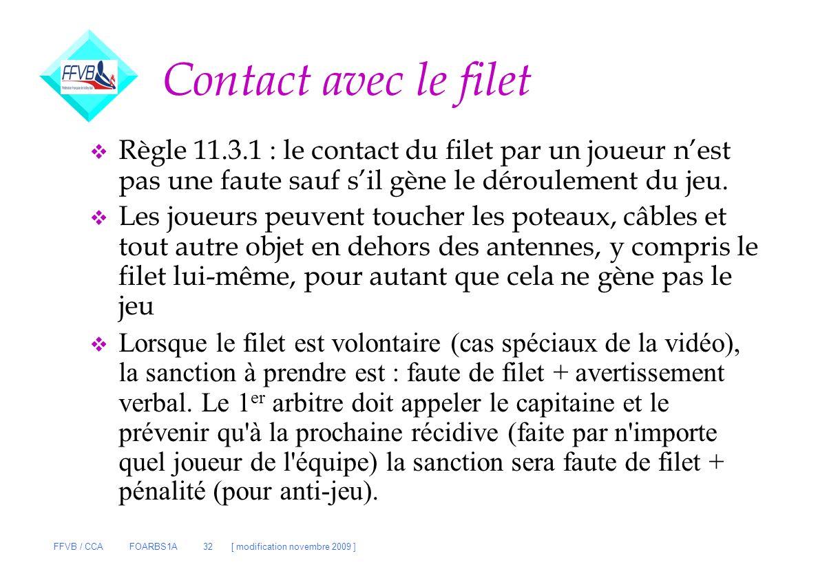 FFVB / CCA FOARBS1A 32 [ modification novembre 2009 ] Contact avec le filet v Règle 11.3.1 : le contact du filet par un joueur nest pas une faute sauf