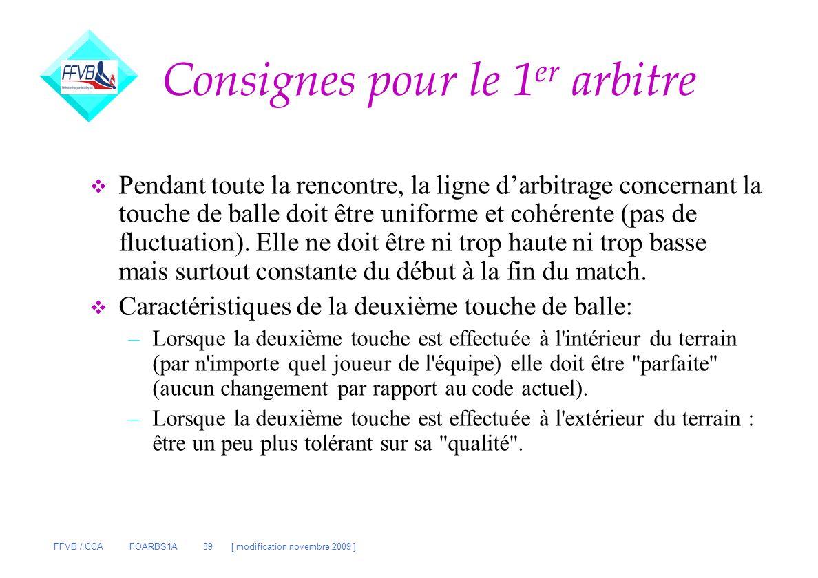 FFVB / CCA FOARBS1A 39 [ modification novembre 2009 ] v Pendant toute la rencontre, la ligne darbitrage concernant la touche de balle doit être unifor