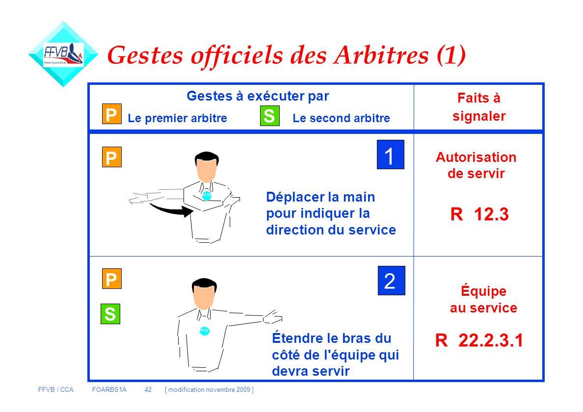 FFVB / CCA FOARBS1A 42 [ modification novembre 2009 ] FFVB Gestes officiels des Arbitres (1) P S Gestes à exécuter par Le premier arbitreLe second arb