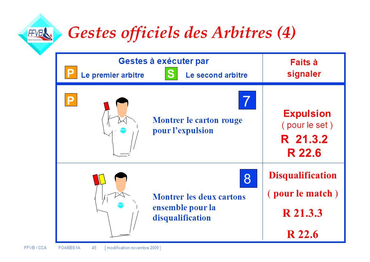 FFVB / CCA FOARBS1A 45 [ modification novembre 2009 ] P S Gestes à exécuter par Le premier arbitreLe second arbitre Faits à signaler P 7 Montrer le ca
