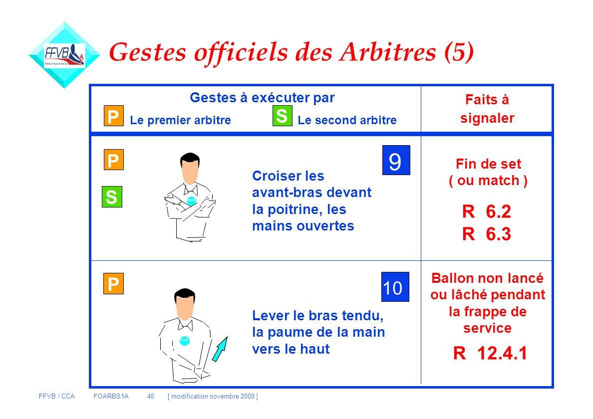 FFVB / CCA FOARBS1A 46 [ modification novembre 2009 ] Gestes officiels des Arbitres (5) P S Gestes à exécuter par Le premier arbitreLe second arbitre