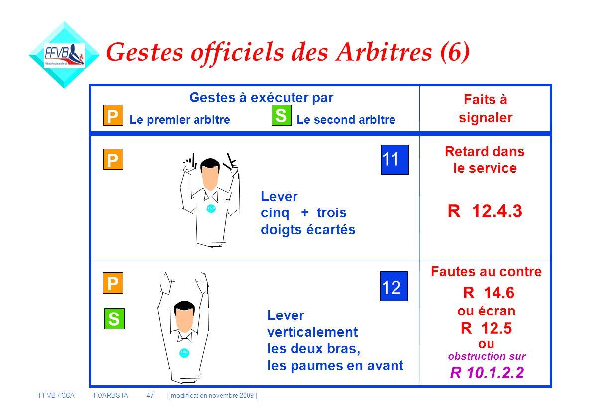 FFVB / CCA FOARBS1A 47 [ modification novembre 2009 ] P S Gestes à exécuter par Le premier arbitreLe second arbitre Faits à signaler P 11 Lever cinq +