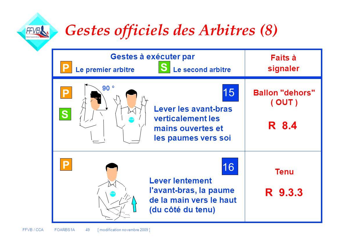 FFVB / CCA FOARBS1A 49 [ modification novembre 2009 ] P S Gestes à exécuter par Le premier arbitreLe second arbitre Faits à signaler P 15 Lever les av