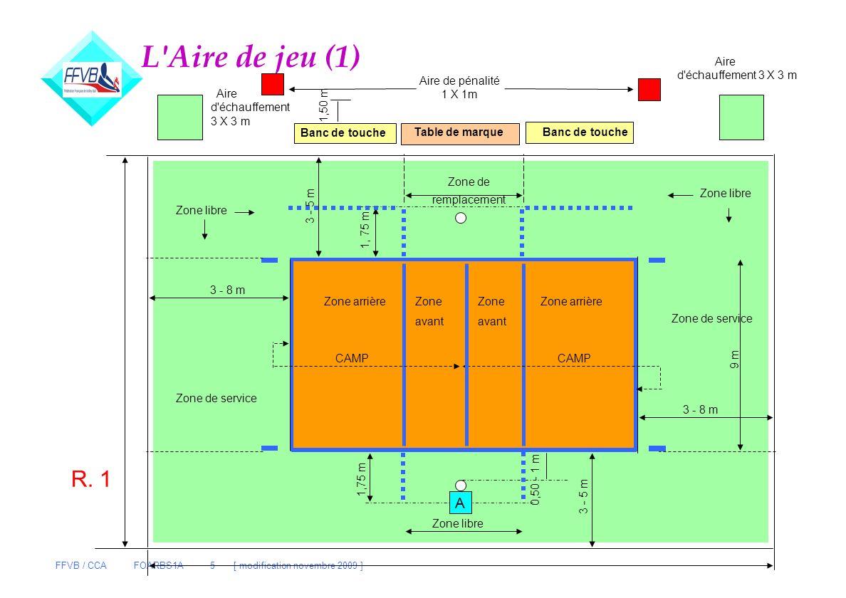 FFVB / CCA FOARBS1A 5 [ modification novembre 2009 ] L'Aire de jeu (1) Table de marque Banc de touche Aire de pénalité 1 X 1m 1,50 m Aire d'échauffeme