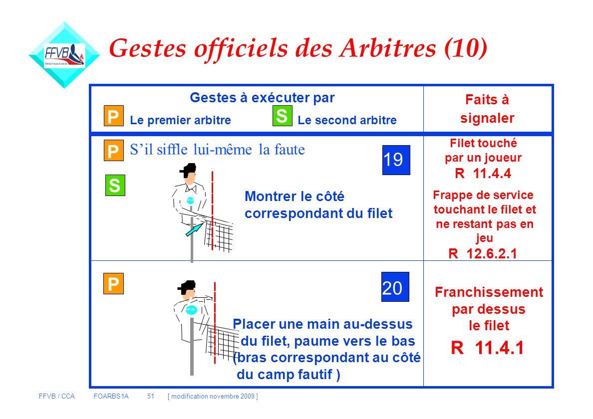 FFVB / CCA FOARBS1A 51 [ modification novembre 2009 ] P S Gestes à exécuter par Le premier arbitreLe second arbitre Faits à signaler P 19 Montrer le c