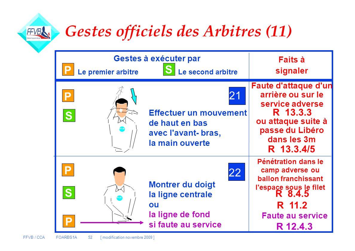 FFVB / CCA FOARBS1A 52 [ modification novembre 2009 ] Gestes officiels des Arbitres (11) P Gestes à exécuter par Le premier arbitreLe second arbitre F