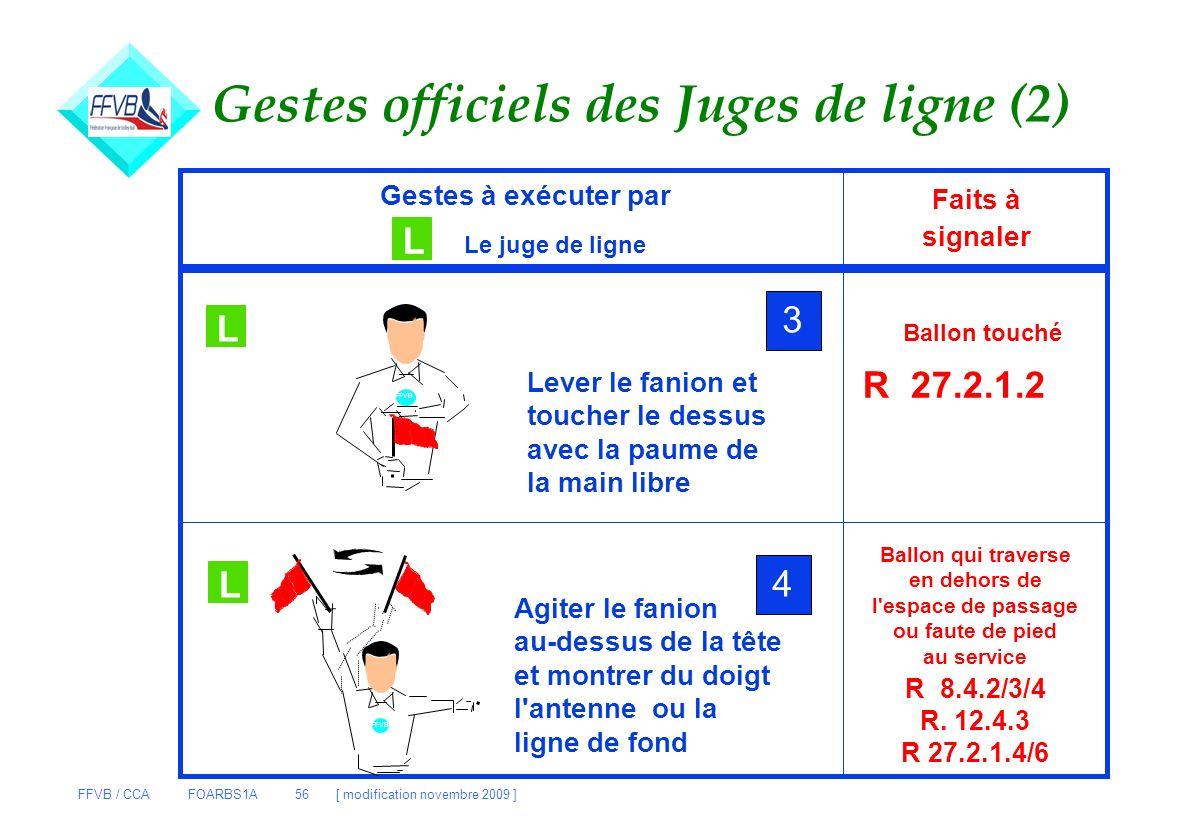 FFVB / CCA FOARBS1A 56 [ modification novembre 2009 ] Gestes officiels des Juges de ligne (2) Gestes à exécuter par L Le juge de ligne Faits à signale