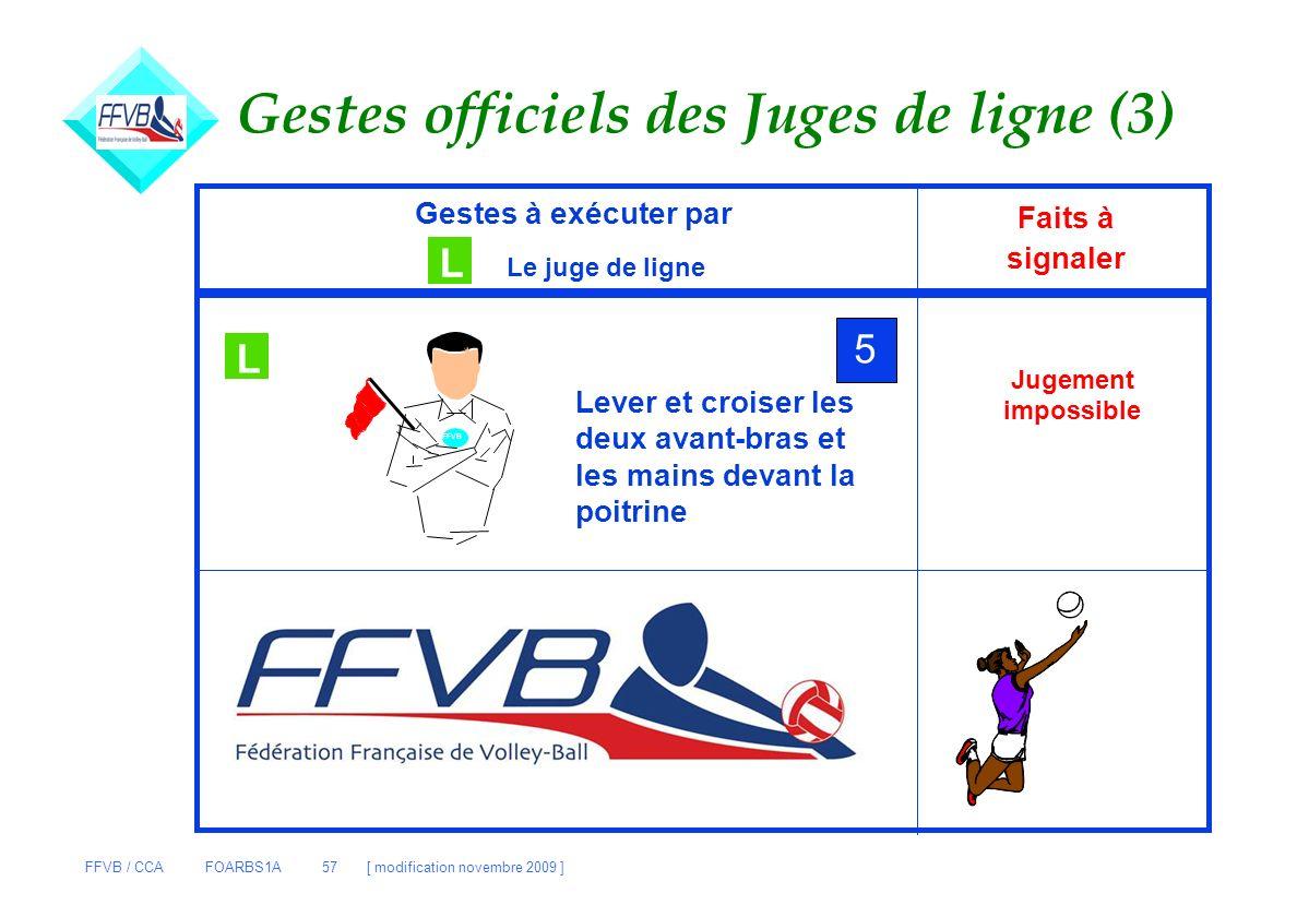 FFVB / CCA FOARBS1A 57 [ modification novembre 2009 ] Gestes officiels des Juges de ligne (3) Gestes à exécuter par L Le juge de ligne Faits à signale