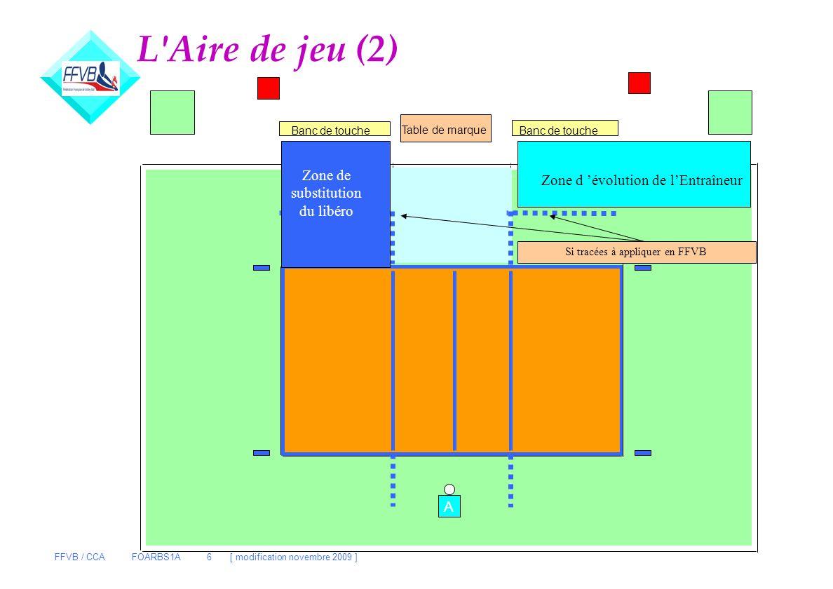 FFVB / CCA FOARBS1A 6 [ modification novembre 2009 ] L'Aire de jeu (2) Table de marque Banc de touche Zone d'évolution du LIBERO Rentrées/Sorties Zone