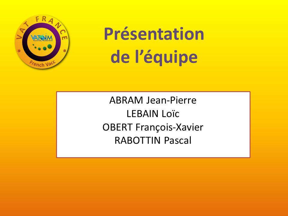 Présentation de léquipe ABRAM Jean-Pierre LEBAIN Loïc OBERT François-Xavier RABOTTIN Pascal