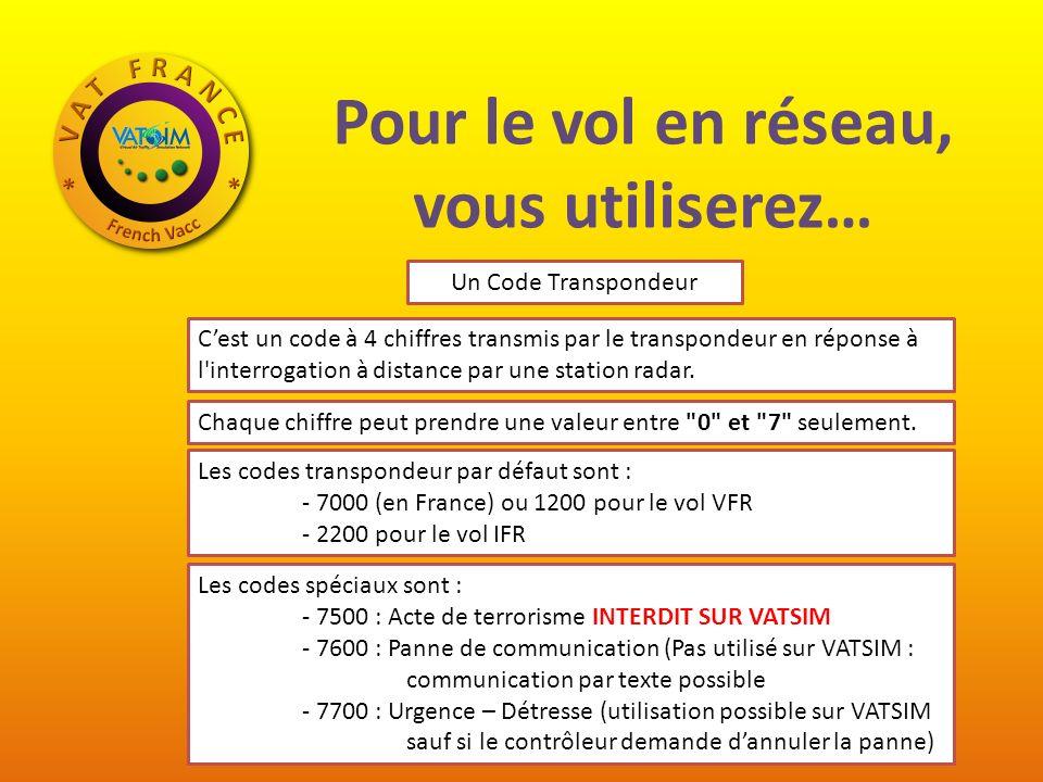 Pour le vol en réseau, vous utiliserez… Un Code Transpondeur Cest un code à 4 chiffres transmis par le transpondeur en réponse à l interrogation à distance par une station radar.