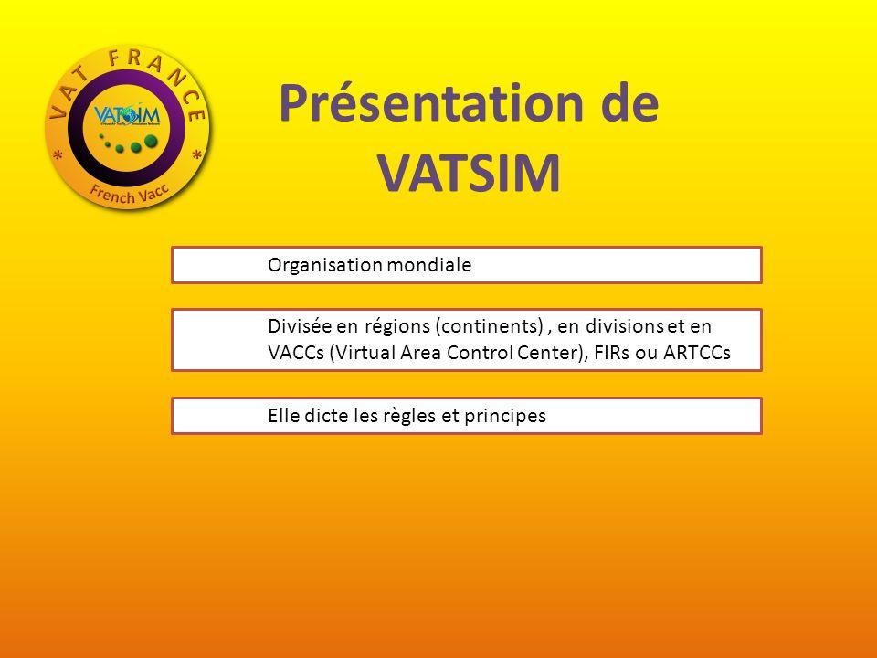 Présentation de VATSIM Organisation mondiale Divisée en régions (continents), en divisions et en VACCs (Virtual Area Control Center), FIRs ou ARTCCs Elle dicte les règles et principes