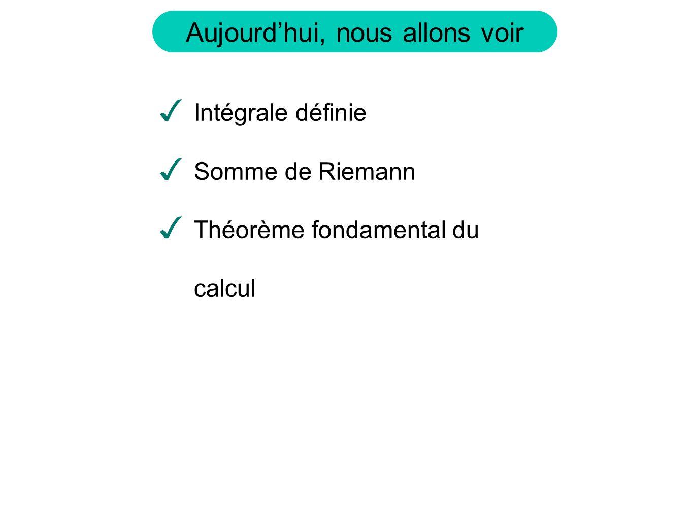 Aujourdhui, nous allons voir Intégrale définie Somme de Riemann Théorème fondamental du calcul
