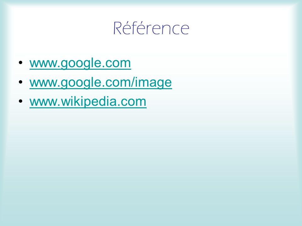 Référence www.google.com www.google.com/image www.wikipedia.com