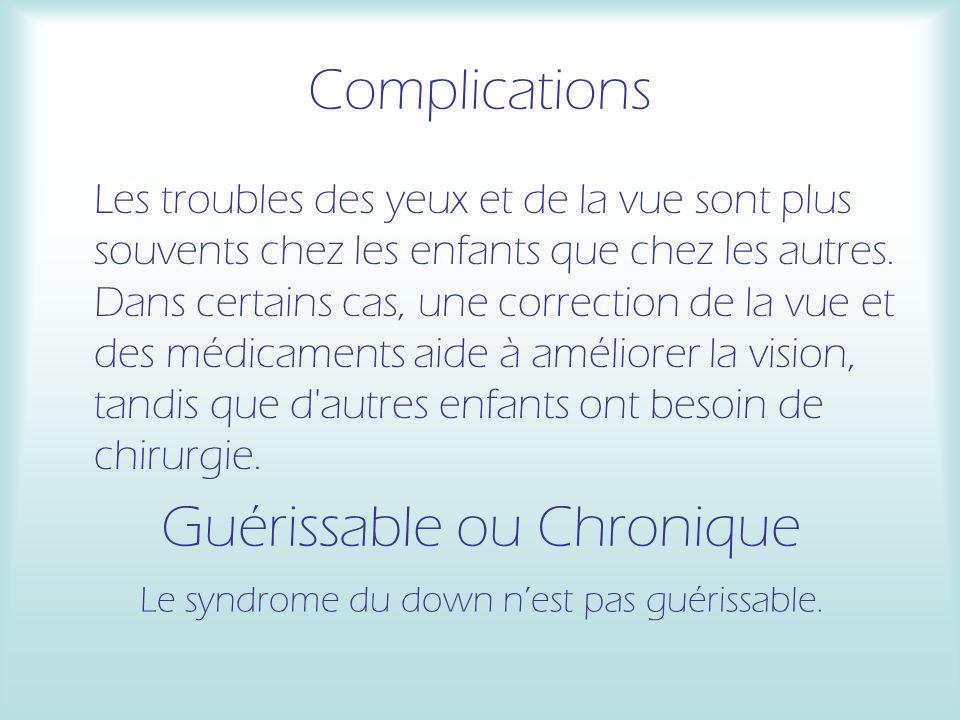 Complications Les troubles des yeux et de la vue sont plus souvents chez les enfants que chez les autres. Dans certains cas, une correction de la vue