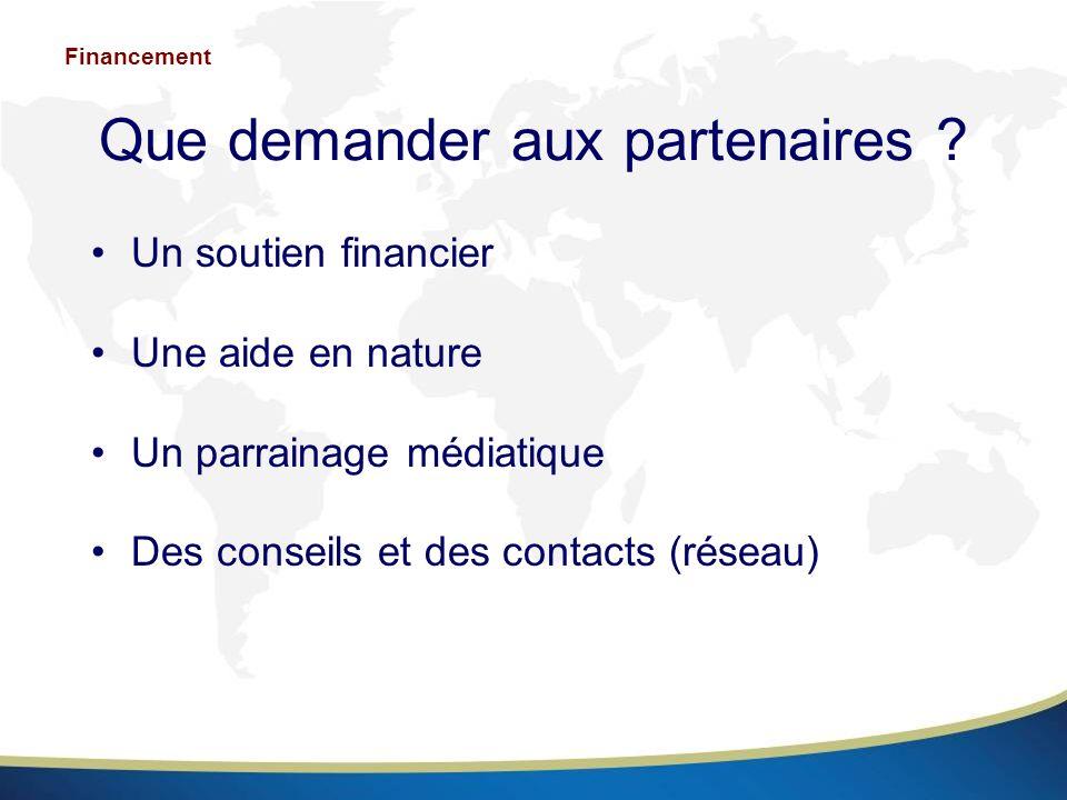 Que demander aux partenaires ? Un soutien financier Une aide en nature Un parrainage médiatique Des conseils et des contacts (réseau) Financement