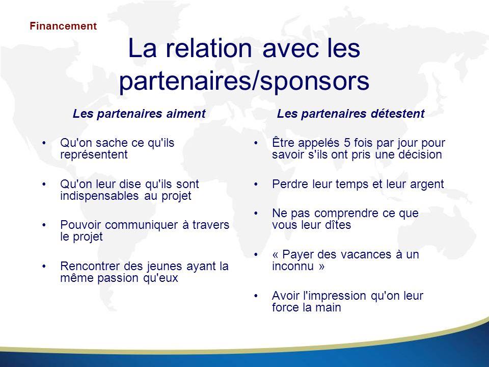 La relation avec les partenaires/sponsors Les partenaires aiment Qu'on sache ce qu'ils représentent Qu'on leur dise qu'ils sont indispensables au proj