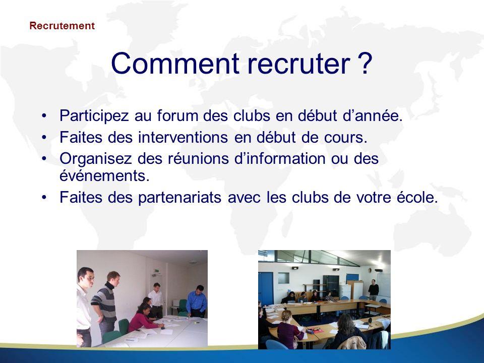 Comment recruter ? Participez au forum des clubs en début dannée. Faites des interventions en début de cours. Organisez des réunions dinformation ou d