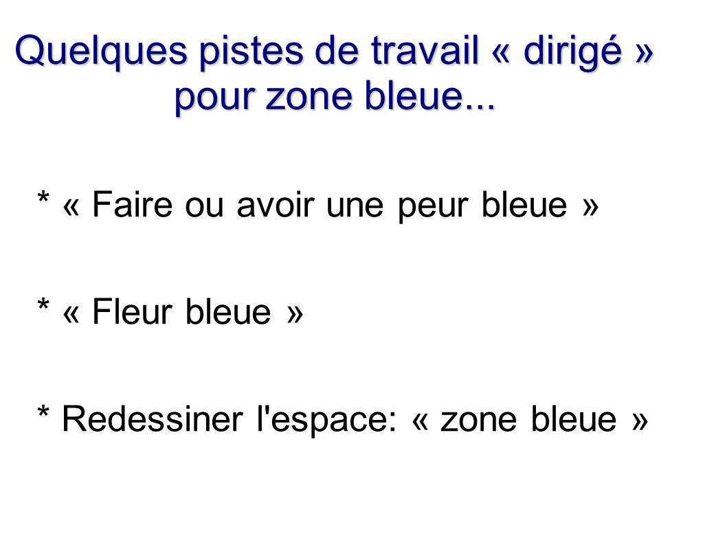 Quelques pistes de travail « dirigé » pour zone bleue... * « Faire ou avoir une peur bleue » * « Fleur bleue » * Redessiner l'espace: « zone bleue »