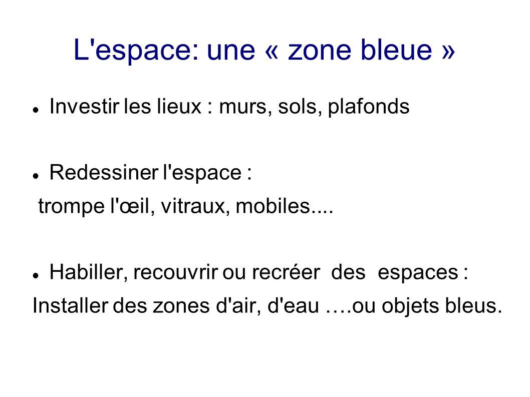 L'espace: une « zone bleue » Investir les lieux : murs, sols, plafonds Redessiner l'espace : trompe l'œil, vitraux, mobiles.... Habiller, recouvrir ou