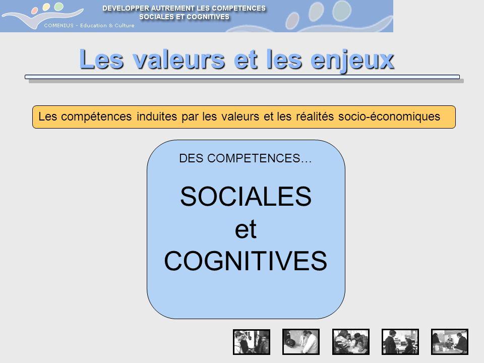 Les valeurs et les enjeux Les compétences induites par les valeurs et les réalités socio-économiques DES COMPETENCES… SOCIALES et COGNITIVES
