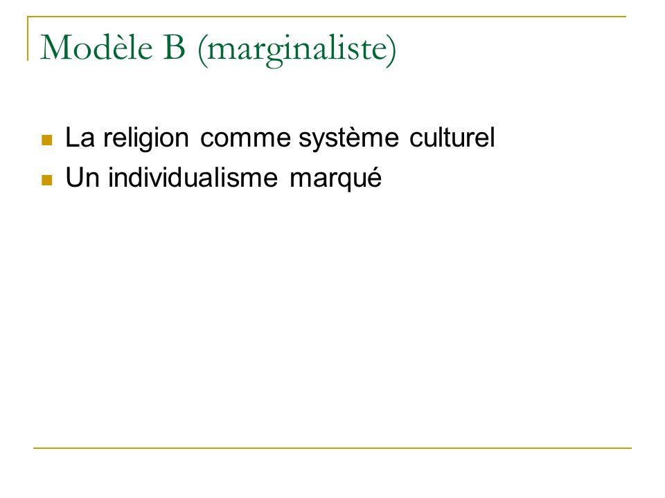 Modèle B (marginaliste) La religion comme système culturel Un individualisme marqué