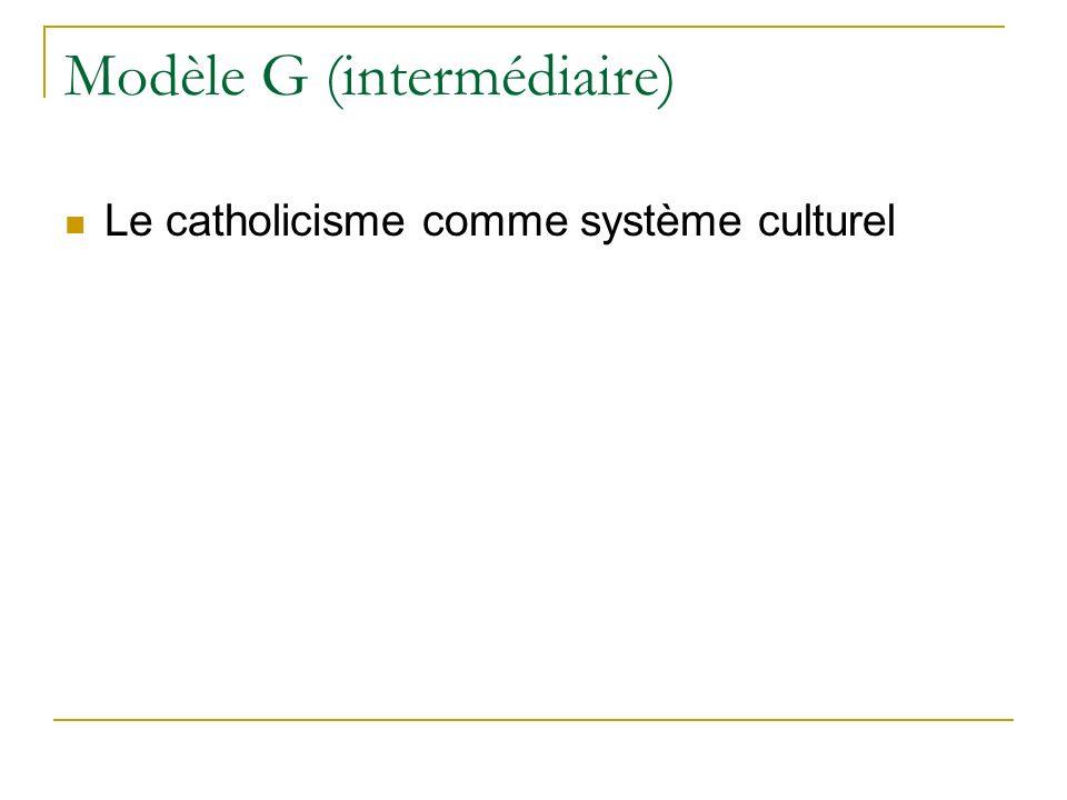 Modèle G (intermédiaire) Le catholicisme comme système culturel