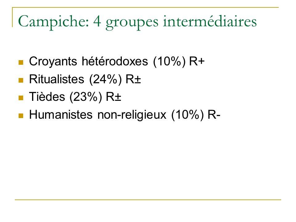 Campiche: 4 groupes intermédiaires Croyants hétérodoxes (10%) R+ Ritualistes (24%) R± Tièdes (23%) R± Humanistes non-religieux (10%) R-