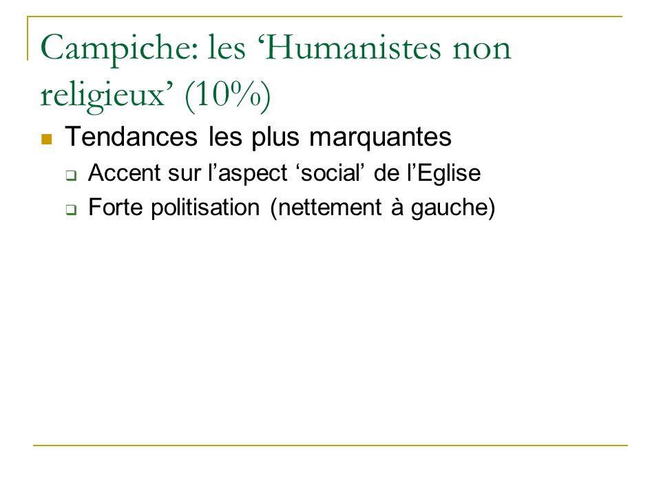 Campiche: les Humanistes non religieux (10%) Tendances les plus marquantes Accent sur laspect social de lEglise Forte politisation (nettement à gauche)