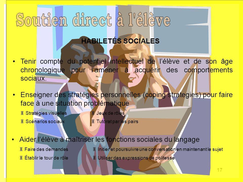 17 HABILETÉS SOCIALES Aider lélève à maîtriser les fonctions sociales du langage Faire des demandes Initier et poursuivre une conversation en maintena